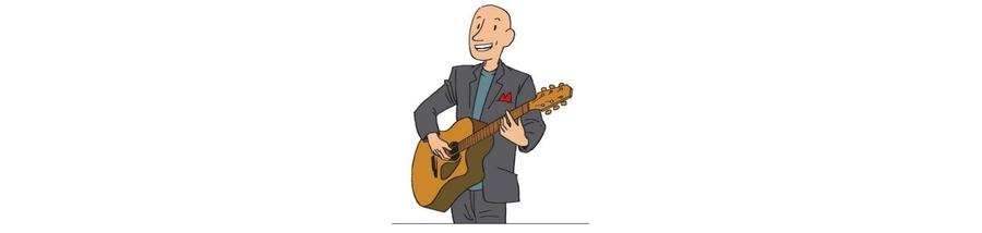 Thierry Claudon chante, accompagné de sa guitare, pour la conférence Joyeux Récital.